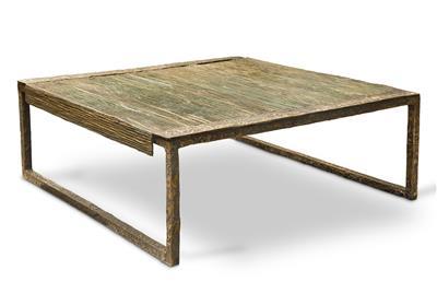 Isabelle de Borchgrave Table basse bronze plisse carree 110x110x37 17000EUR