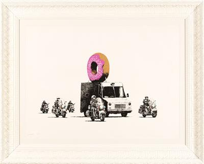 Deodato Art visual Banksy, Strawberry donuts, silkscreen on paper, 56x76cm