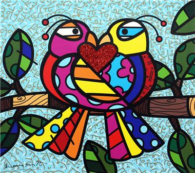 Deodato Art visual Romero Britto, Love Birds, Silkscreen on canvas, 46x51 cm, 1.320 euro copie