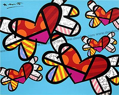Deodato Art visual Romero Britto, Love is in the air too, Silkscreen on canvas, 40x50 cm, 800 euro