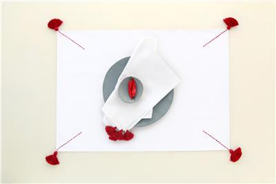 Valerie Barkowski table linen blanc BROKEN KROSS carmin set table serviette tulum credit tania panova vbarkowski