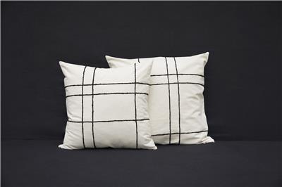 Valerie Barkowski cushion cover ecru KARO wool noir credit tania panova