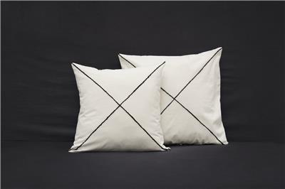 Valerie Barkowski cushion cover ecru KROSS wool noir credit tania panova