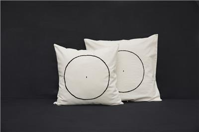 Valerie Barkowski cushion cover ecru YAM wool noir credit tania panova